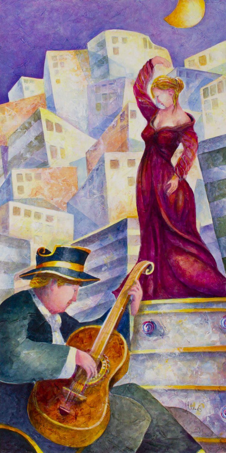 Artisti-in-piazza---80x40cm-Acrilico-su-tavola-mdf