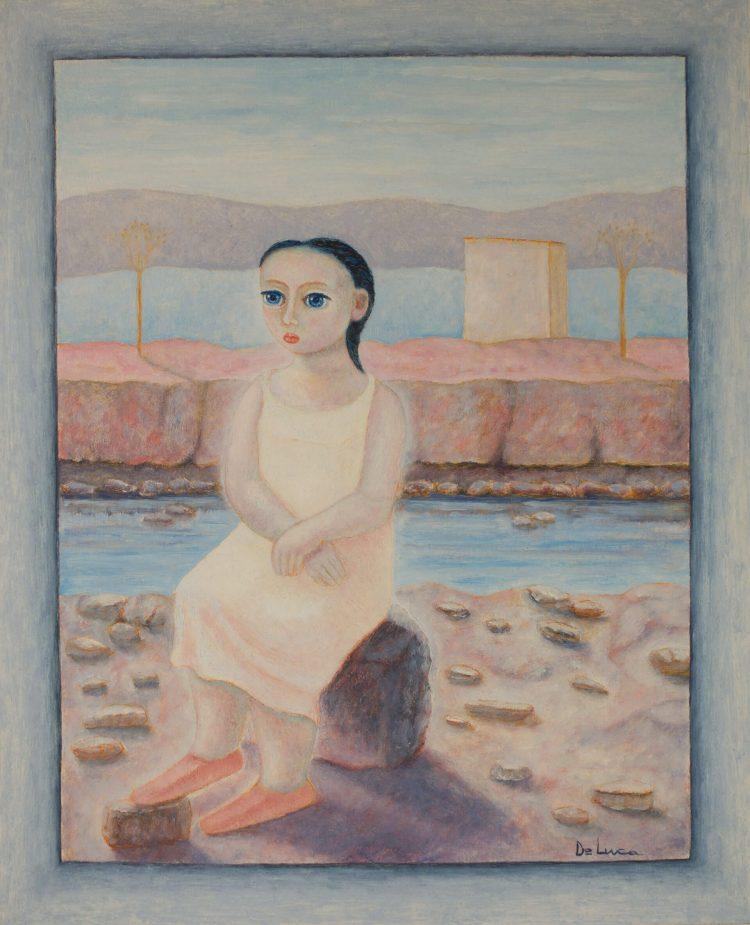 Attesa-in-riva-al-fiume---40x50cm---Olio-su-tavola