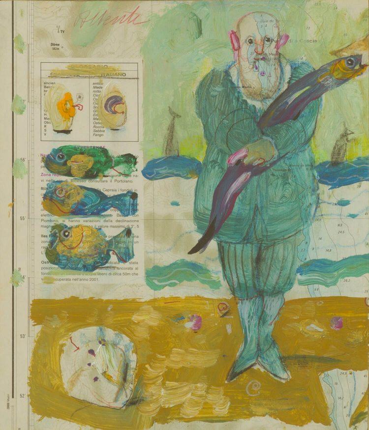Carta-nautica---23x27cm---Olio-su-cartone