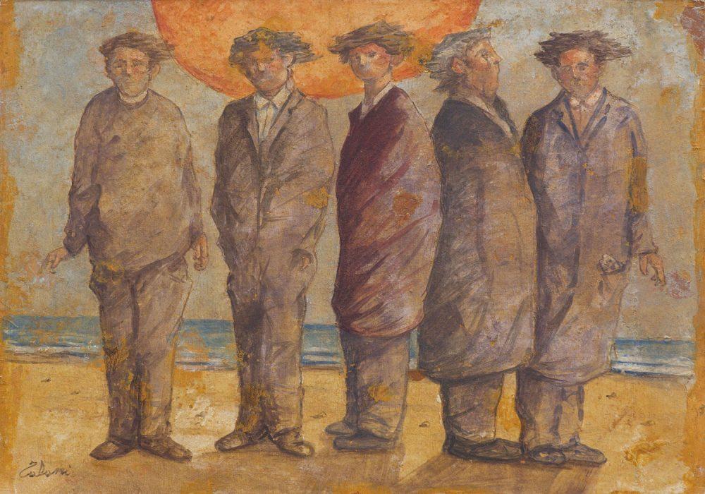 Cinque-uomini-sulla-spiaggia---50x70cm---I¯-Strappo-di-affresco---2011