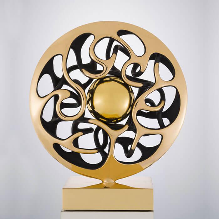 Disco-con-sfera-Diametro-32cm-2011-Bronzo