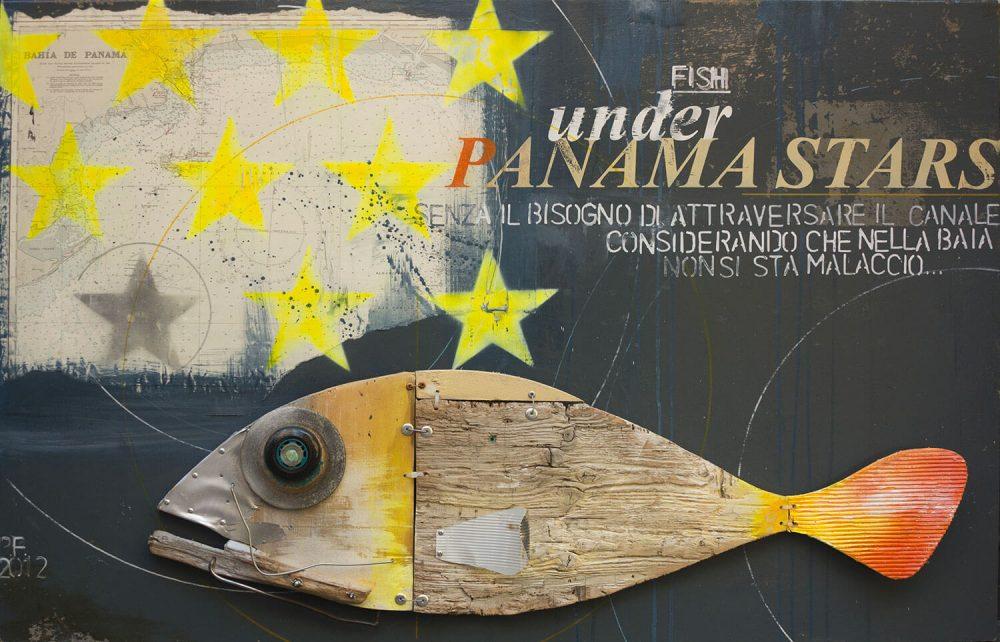 Fish-under-Panama-stars---87x133cm---2012---Tecn-mista-con-materiali-di-riciclo