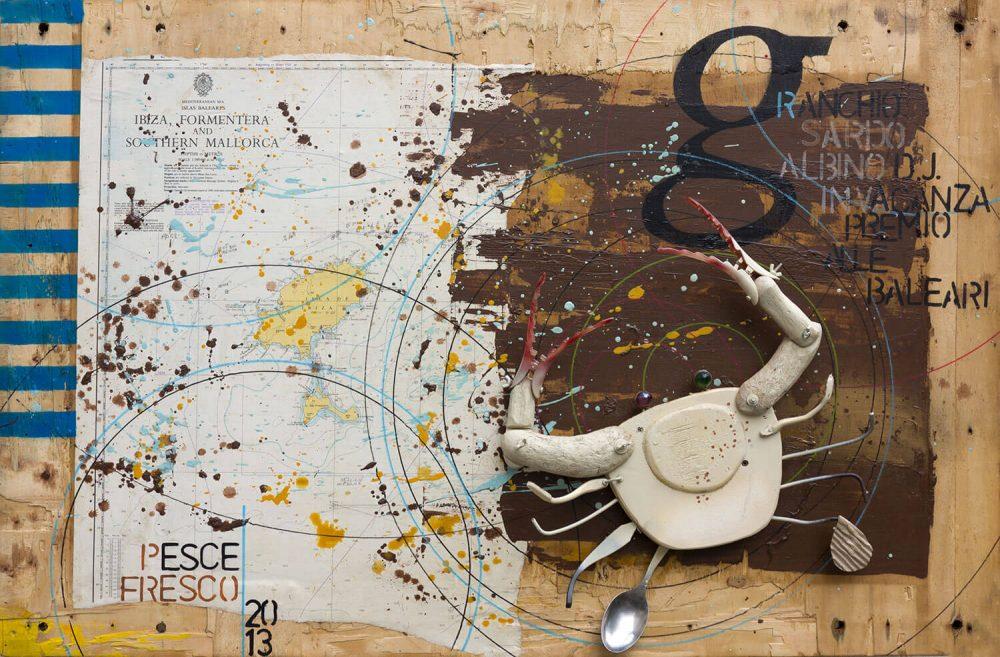 Granchio-sardo-albino---70x100cm---2013---Tecn-mista-con-materiali-di-riciclojpg