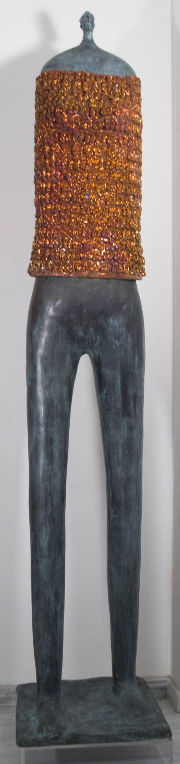 Guerriero-donna---41x39x198cm---Bronzo-e-ceramica---1_1