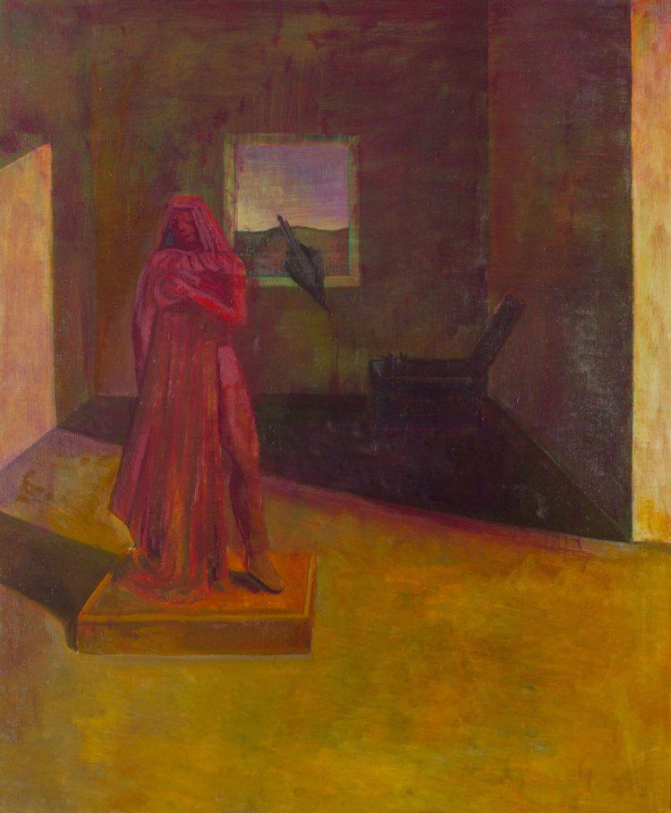 Il-mistero-della-statua-rossa---100x120cm---2000---Olio-su-tela