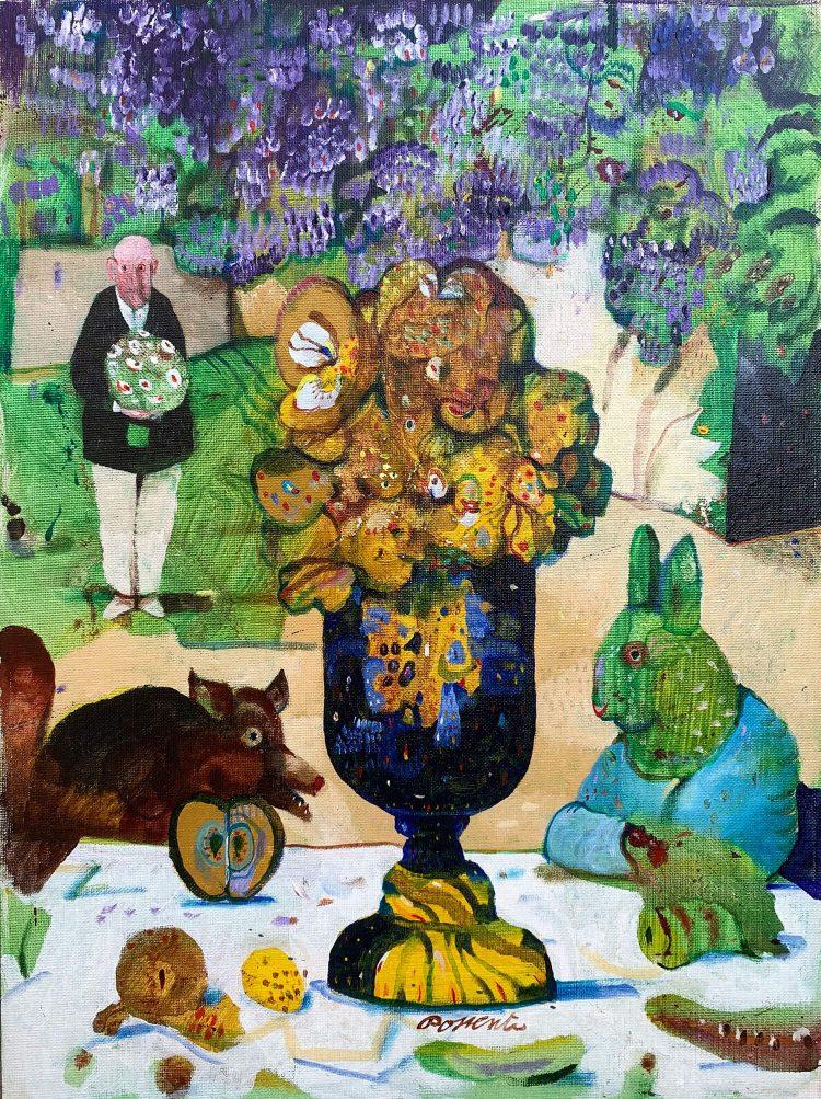 La-Volpe-e-il-cinghiale---40x30cm---Olio-su-cartone-telato-1995