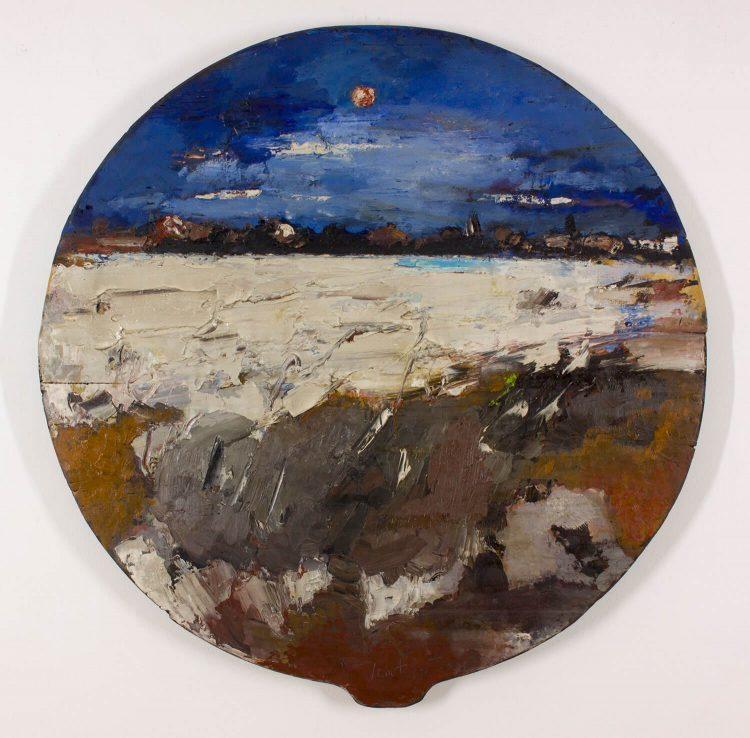 La-spiaggia-di-notte---Diametro-117cm---Olio-su-tavola-vecchia