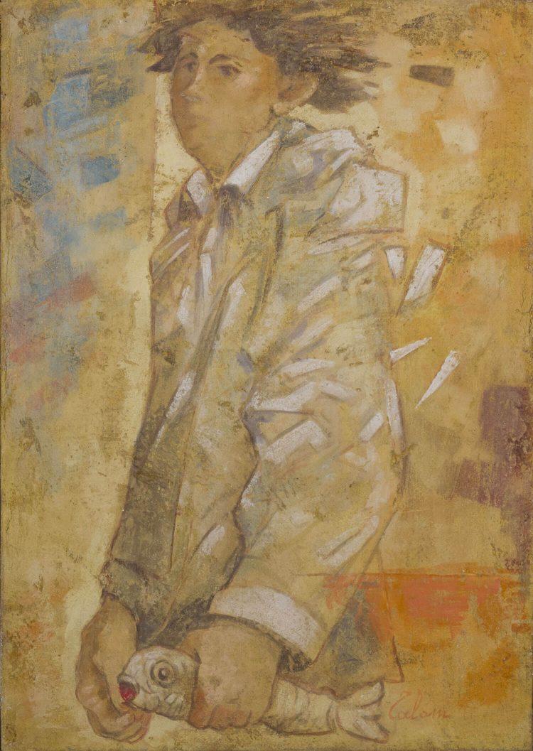 L'uomo-con-il-pesce---70x50cm---II-strappo-d'affresco---2011