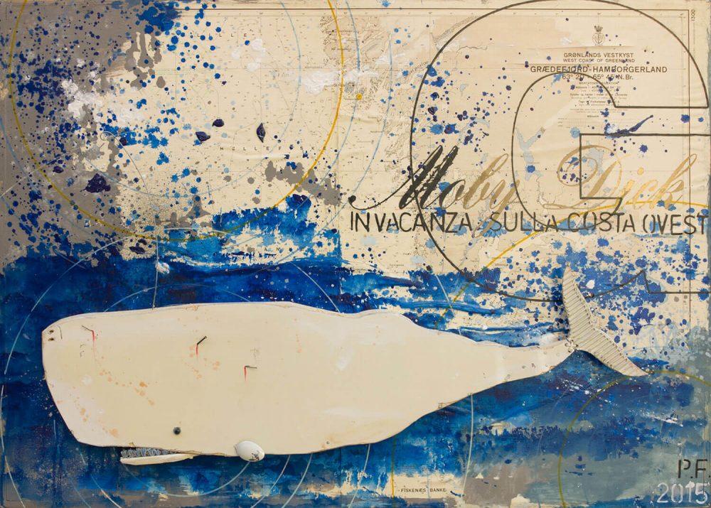 Moby-Dick-in-vacanza-sulla-costa-Ovest---2015---72x102cm---Tecn-mista-con-materiali-di-riciclo