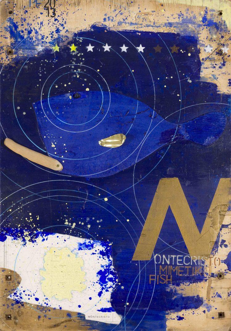 Montecristo-mimetik-fish-70x102cm-2013---Tecn-mista-con-materiali-di-riciclo