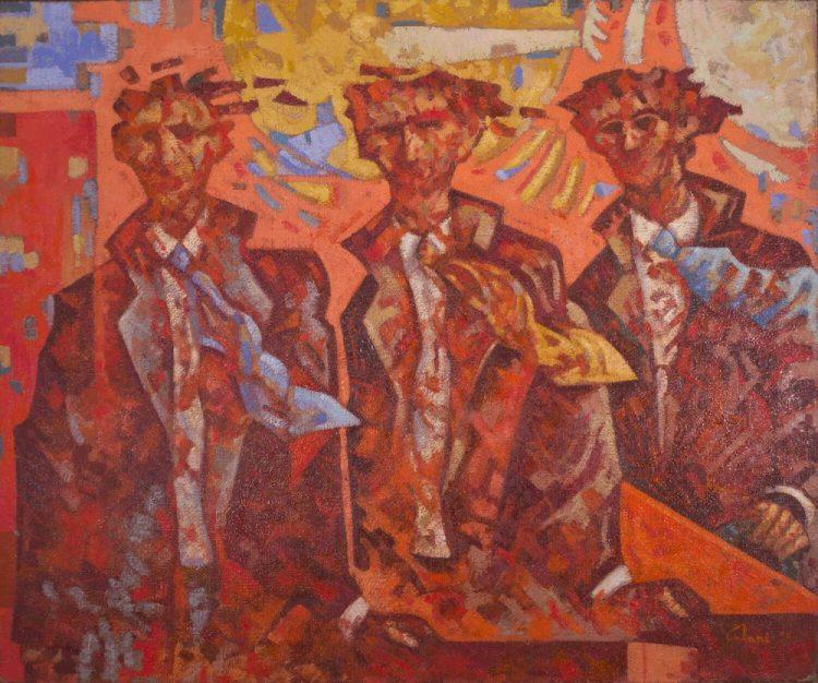 Partenza-degli-uomini-rossi---100x120cm---Olio-su-tela