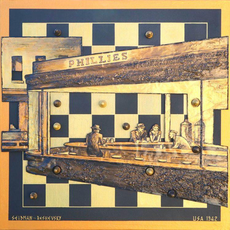 SEIDMAN---RESHEVSKY,-USA-1942---50x50cm---Scacchi-e-tecn-mista-su-tavola