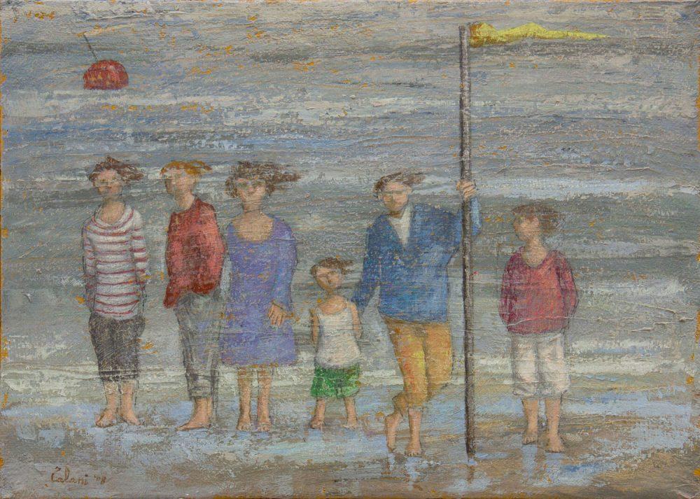 Sei-ragazzi-sulla-spiaggia---50x70cm---2008---Olio-su-tela