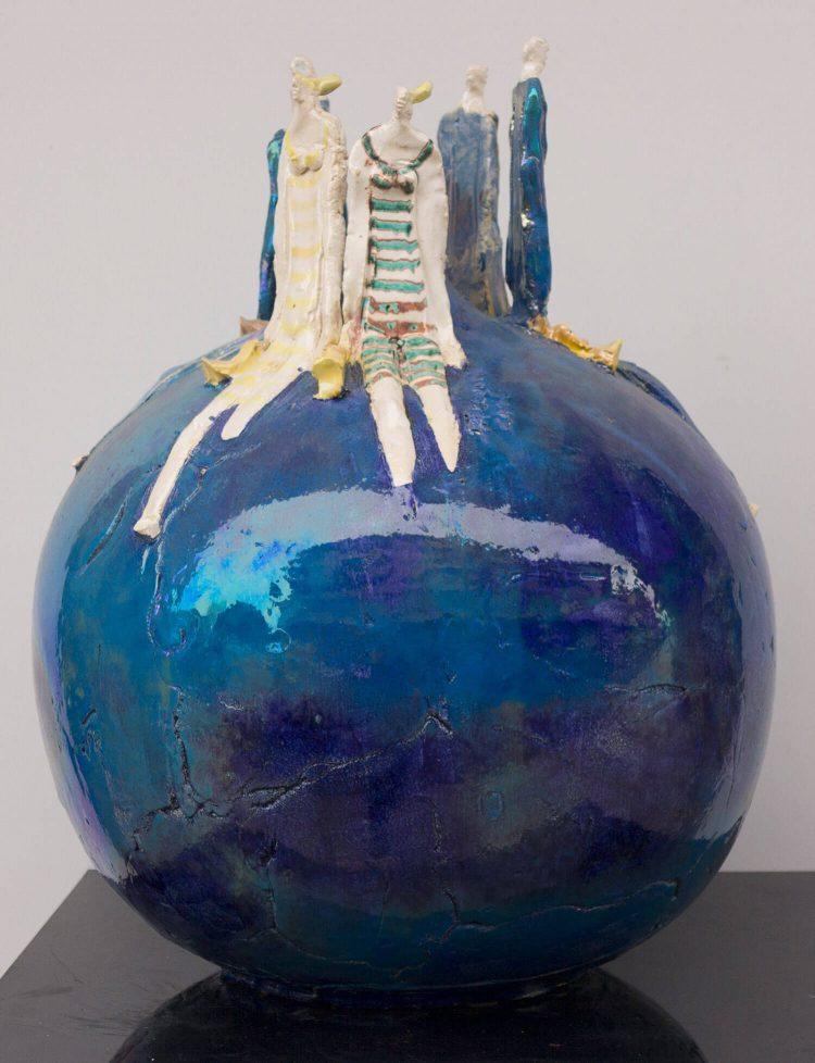 Sfera-blu---Altezza-40cm---Ceramica