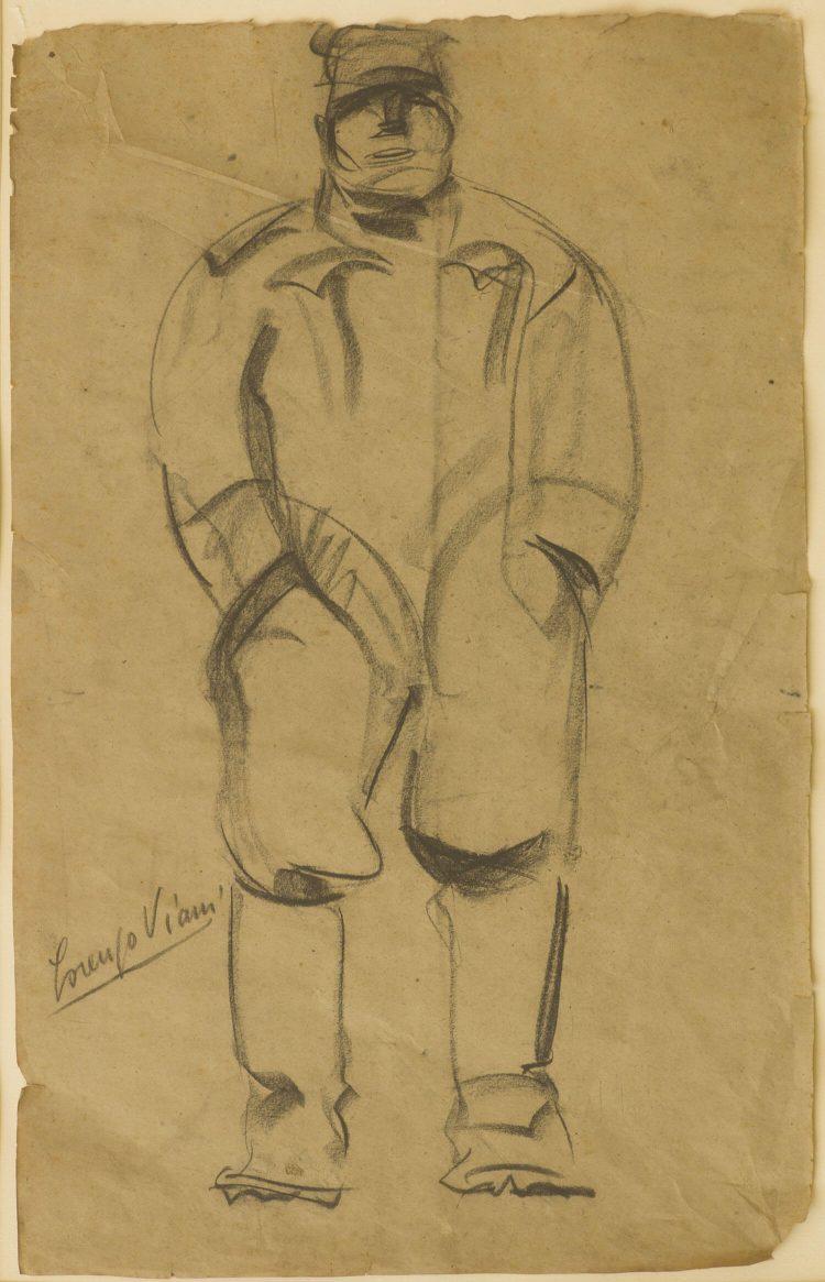 Soldato-austriaco---31x49cm---1917---Carbone-su-carta