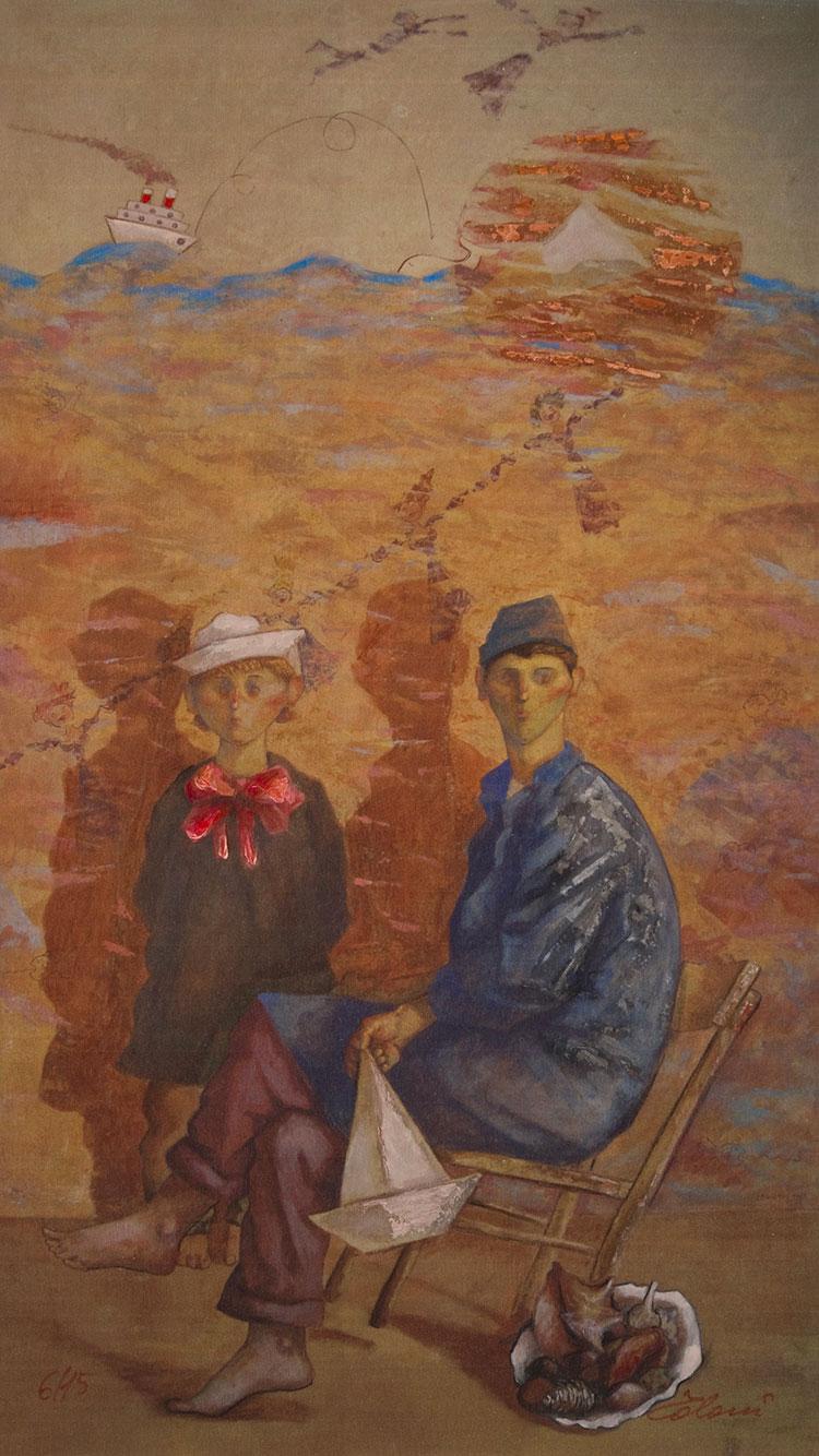 Riproduzione su tavola con raffigurato 2 persone