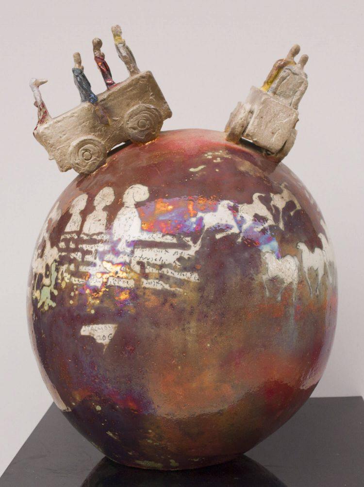 Vaso-con-due-carretti---Altezza-50cm---Ceramica