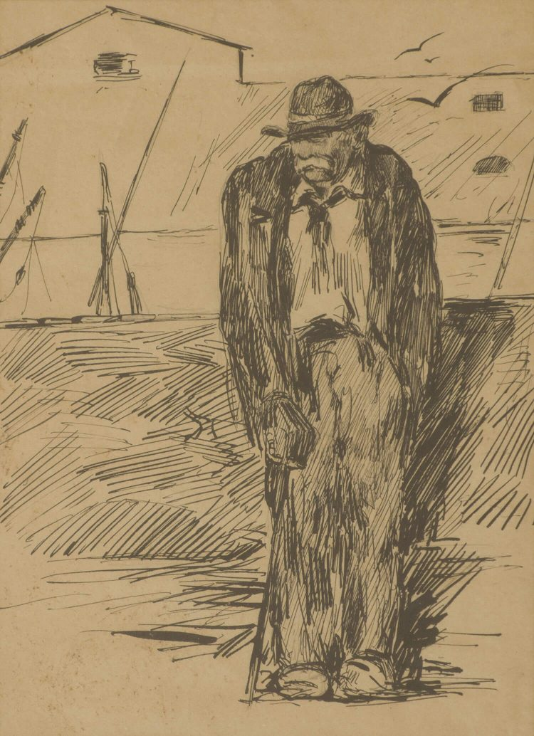 Vecchio-al-porto---17,5x23,5cm---1905---China-su-carta