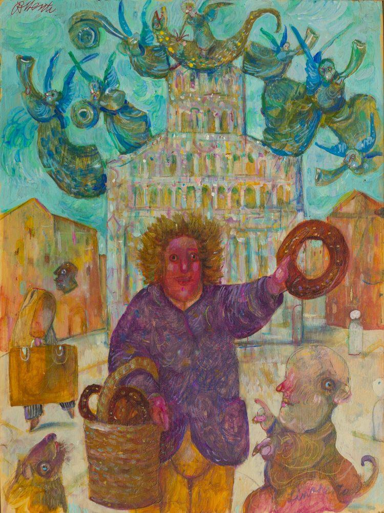 Venditore-di-buccellato-in-Piazza-San-Michele---40x30cm---Olio-su-tavola---Pubblicato-Palazzo-Ducale,-Lucca