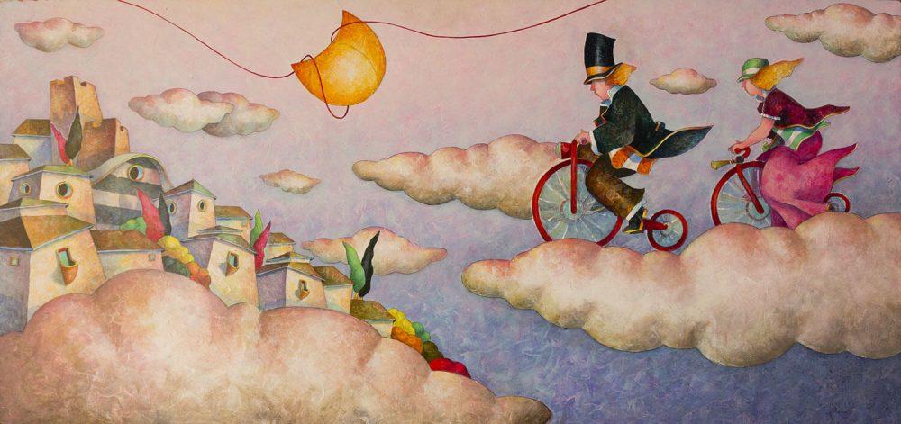 Volare-in-bicicletta---70x150cm---Acrilico-su-tavola-mdf