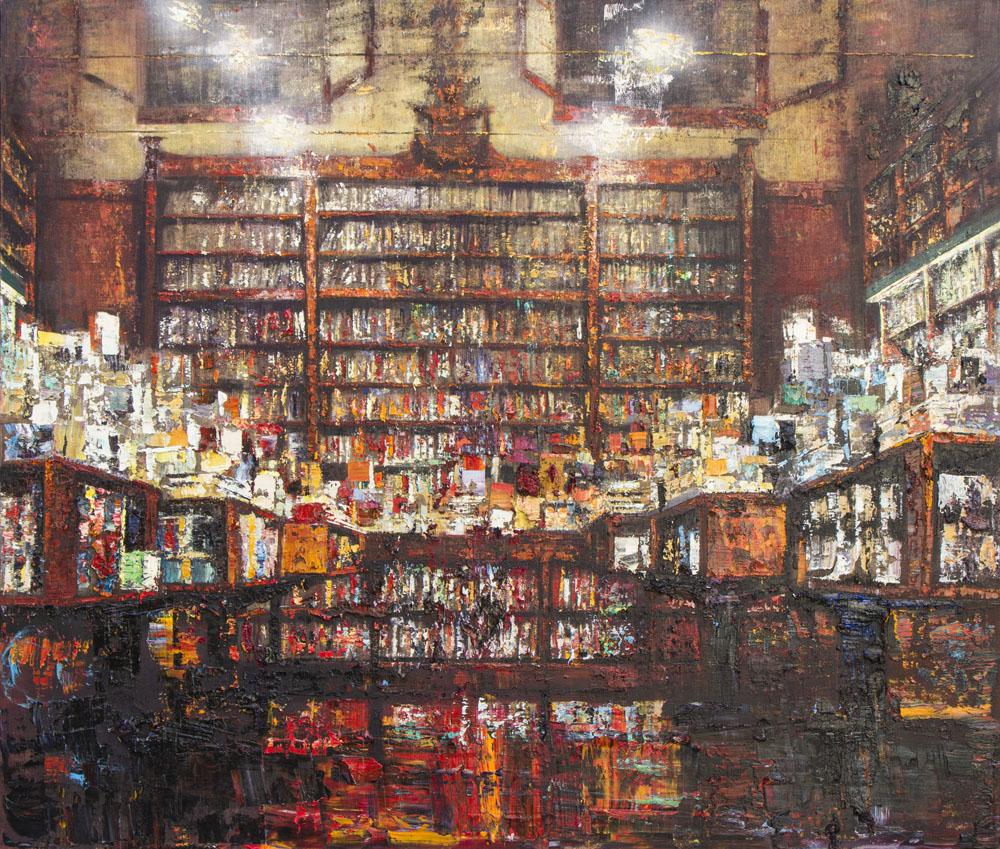 Interno di libreria - 150x170cm - Olio su tela - 2020